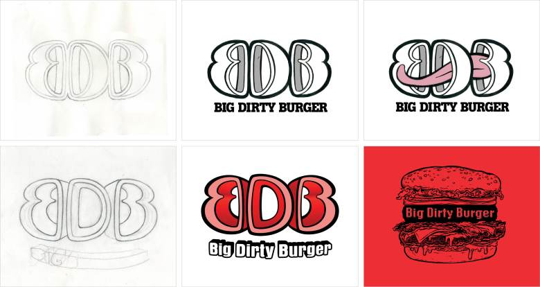 Earlier versions of Big Dirty Burger logo, including a tongue and letters made to resemble buns and filling