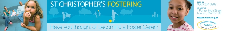 Bus-side ad by Type Design for St Christopher's fostering
