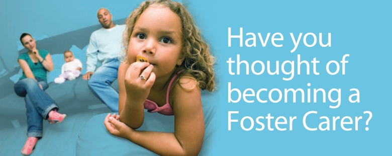 'Have you thought of becoming a foster carer?' overlayed photo of foster carers with two small children, by Type Design