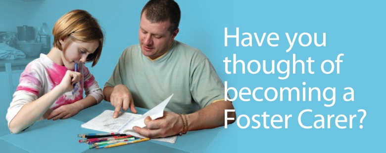 Foster carer helps teen with homework, overlayed with 'Have you thought of becoming a Foster Carer?' by Type Design