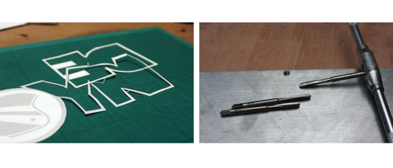 Joyrider logo paper templates and tap and die