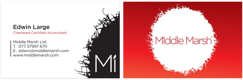Middle Marsh chartered accountants business cards designed by Type Design