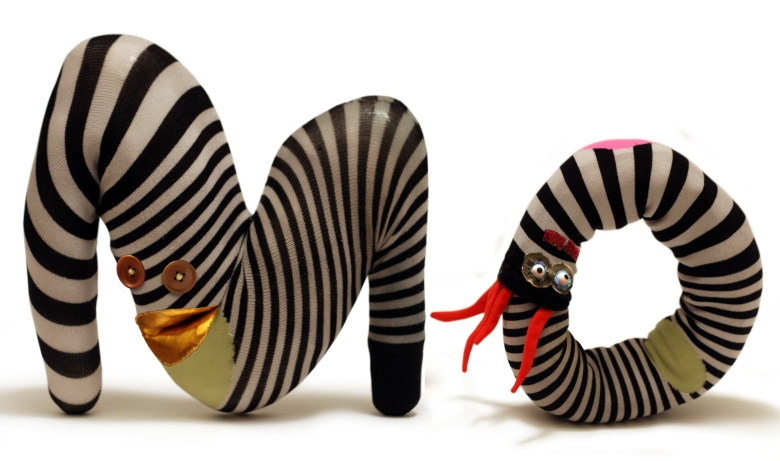 M and O from Type Design's Mocorico children's book characters