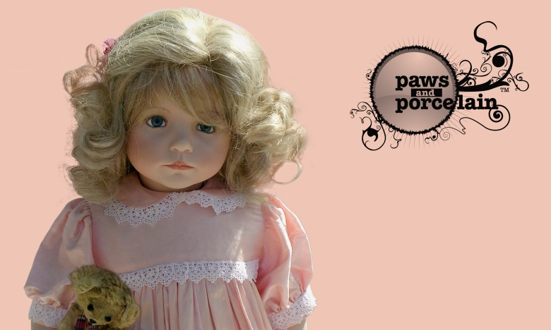 Paws and porcelain web graphic by Type Design, showing logo alongside porcelain doll with teddy, pink background