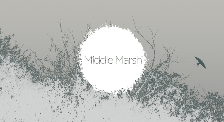 Bush and swallow silhouette overlayed with Middle Marsh logo, by Type Design