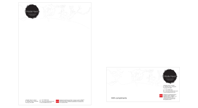 Middle Marsh chartered accountants letterhead and with compliments slip designed by Type Design