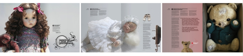 Paws and Porcelain magazine by Type Design, showing porcelain dolls and old teddy bears