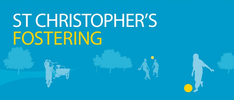St Christopher's Fostering logo with vector image of children playing football in a park
