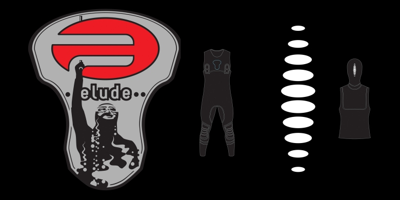 Pinnacle elude sub-brand and bubble motif shown on wetsuit hood, by Type Design