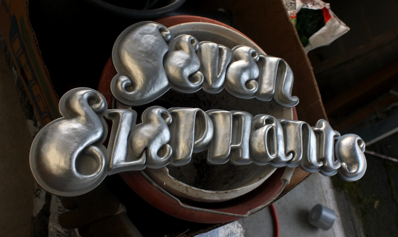 Seven Elephants typography built in particle clay by Type Design