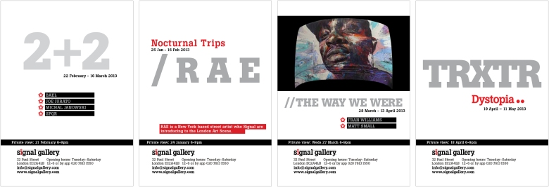 Signal Gallery hard copy flyers designed by Type Design