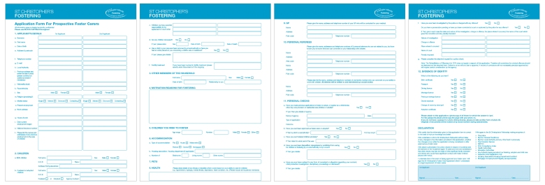 Application form for St Christopher's Fostering, by Type Design