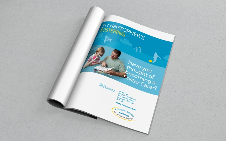 St Christopher's fostering magazine display ad by Type Design